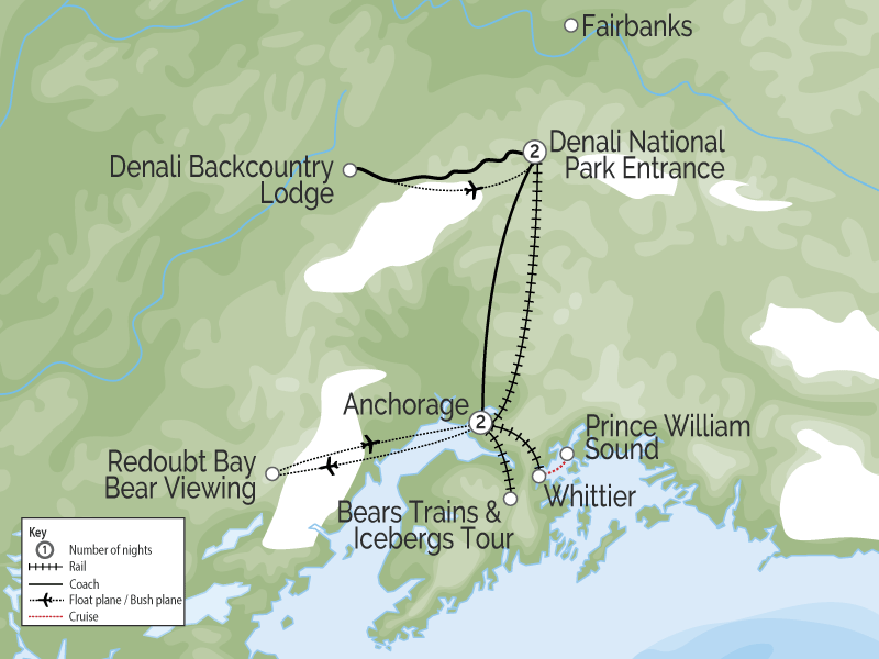 Alaska Denali Train Tour with Icebergs & Bears map