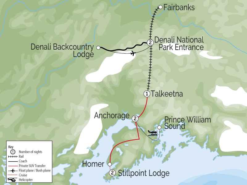 Alaska Luxury Tour with Stillpoint Lodge and Denali by Train map