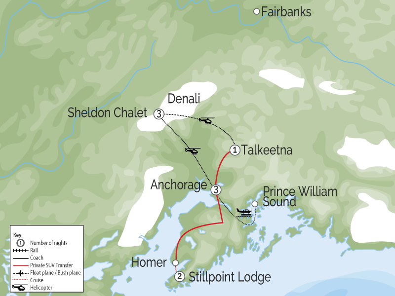 Luxury Lodges in Alaska Ultimate Adventure Package map